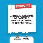 A Câmara Municipal de Cabedelo Publica Relatório de Gestão Fiscal
